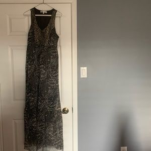 Printed Maxi dress with metal detailing.